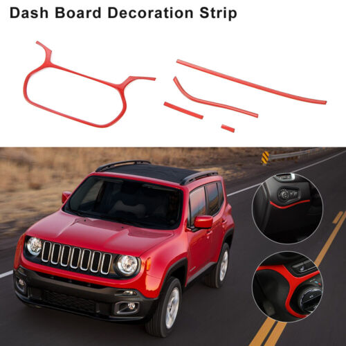 5x Red Car Instrument Panel Decor Cover Trim for Jeep Renegade 15-18 Accessories