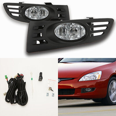 Clear Fog Lights For 2003-2005 Honda Accord Coupe 2Dr w/Bezel Switch Wiring Bulb 2dr Clear Fog Lights