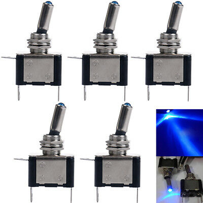 5pc 12v Blue Led Light Toggle Rocker Switch Control Onoff Golf Carts Marine Utv