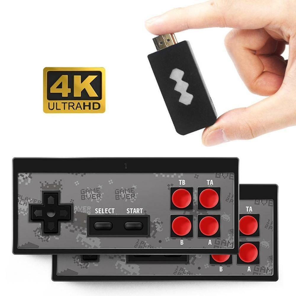 4K Retro Game Stick Console V2 (UPDATED) 600 Built-in Games 2 × Wireless Gamepad