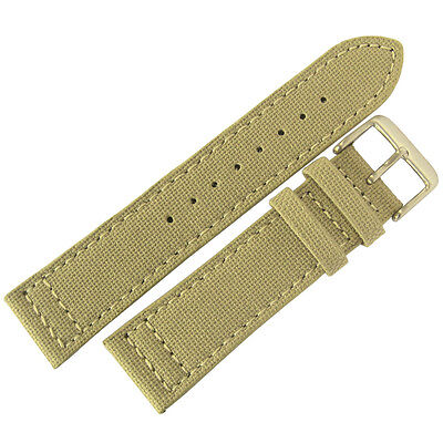 22mm EULIT Tan Sand Khaki Canvas Made in Germany Mens Watch