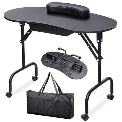 Professional Portable Manicure Nail Art Technician Table Workstation Desk Black
