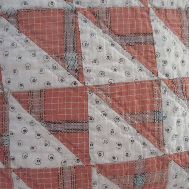 #2 Prim Country FLYING GEESE Antique c1900 QUILT PILLOW Brick Plaid + Shirting