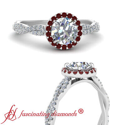3/4 Carat Round Cut Diamond And Ruby Gemstone Halo Classic Vine Engagement Ring