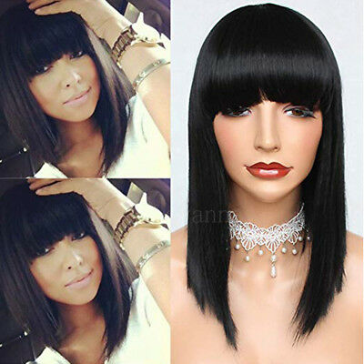 Straight Black Wig (Short Bob Straight Full Bangs Synthetic None Lace Wig Glueless Black Hair)