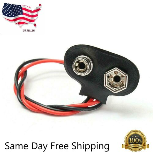 9V (9 Volt) Battery Connector Clip Snap On Plug - Long 12cm Wire Leads - US
