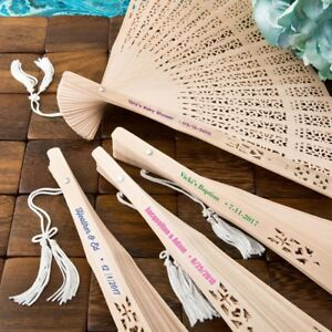60 Personalized Sandalwood Carved Wood Garden Fans Wedding Bridal Party Favors