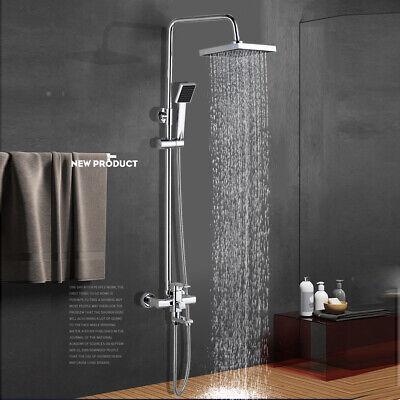Wall Mounted Chrome Shower Faucet Set 8 inch Rainfall Hand Shower Tub Filler Tap Bath Shower Faucet
