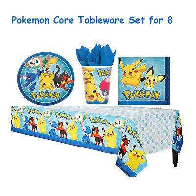 Pokemon Core Birthday Party Tableware Set Napkin Cups Plates Table Cover - Pokemon Table