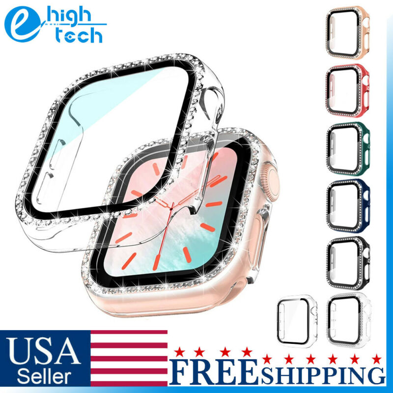 For Apple Watch Series 4/5/6/SE Snap On Diamond Hard Case Cover Screen Protector