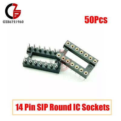 50pcs 14 Pin Dip Sip Round Ic Sockets Adaptor Solder Type Gold Plated Machined
