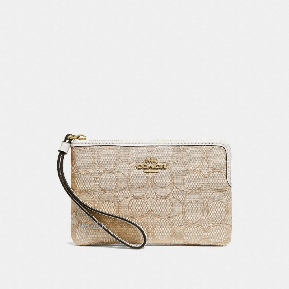 New Coach F58032 F58035 Corner Zip Wristlet With Gift Box New With Tags Light Khaki Chalk Jacquard