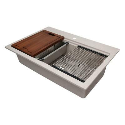 Dual Mount Rustin Granite Workstation 33'' 1-Hole Single Bowl Kitchen Sink CMI