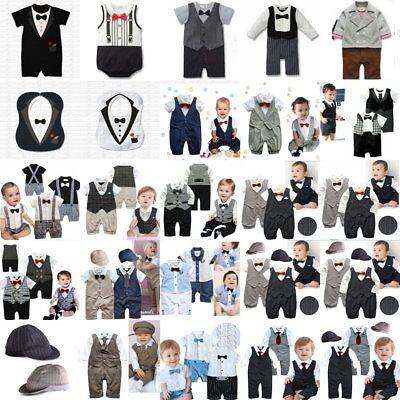 Baby Tuxedo Romper (Baby Boy Wedding Christening Formal Suit Tuxedo Romper Outfit NEWBORN 0000)