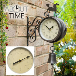 Outdoor Wall Clock Horse Bell Bracket & Thermometer Garden Weatherproof Vintage
