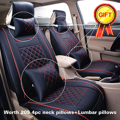 Deluxe Full Set Car Seat Cover Cushion 5-Seats PU Leather W/Pillows All Seasons