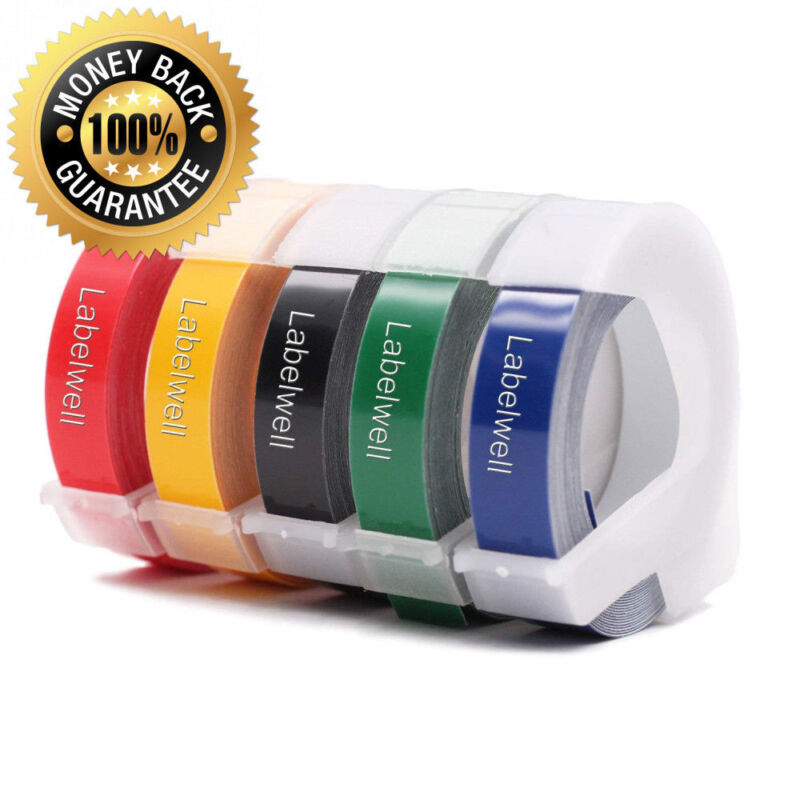 """5PK Label Tapes Replacement Dymo 3D Plastic Embossing Tape for Label Makers 3/8"""""""