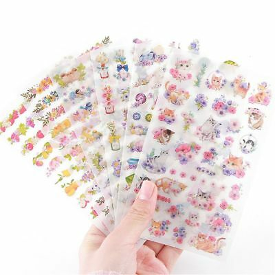 6X Cartoon Flower Cat Paper Stickers DIY Scrapbooking Notebook Diary Album - Diy Stickers