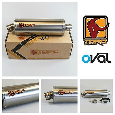Toro Universal Brushed Stainless Steel Oval Motorcycle Exhaust Can Muffler