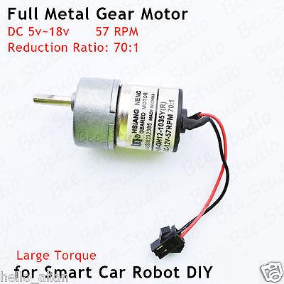 Dc 5v 6v 12v 57rpm Large Torque Mini Full Metal Gearbox Gear Motor Diy Robot Car