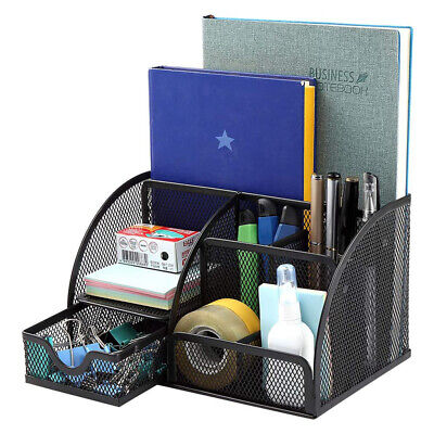 Desk Organizer Pen Holder 6 Component Mesh Office Accessories Cady With Drawer