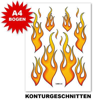 FLAMMEN AUFKLEBER |  FEUER STICKER | NEU A4 | FÜR AUTO MOTORRAD ROLLER UND BOOT