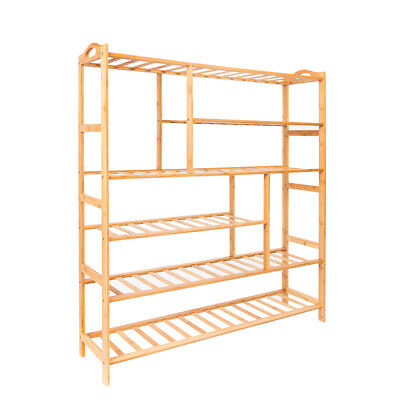 6Tier Natural Bamboo Shoe Shelf Holder Storage Rack Organizer Furniture Entryway