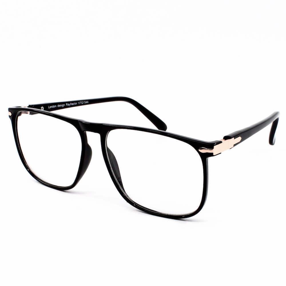 Vintage Rectangle Frame Geek 1950\'s Clear Lens Glasses Black ...