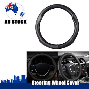 1pc Genuine Leather Skidproof Auto Car Steering Wheel Cover 38CM M Size Black AU