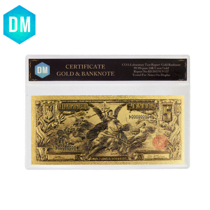 1896 Year 5 Dollar Colorful Gold Banknote Collectible Bill Note with Sleeve