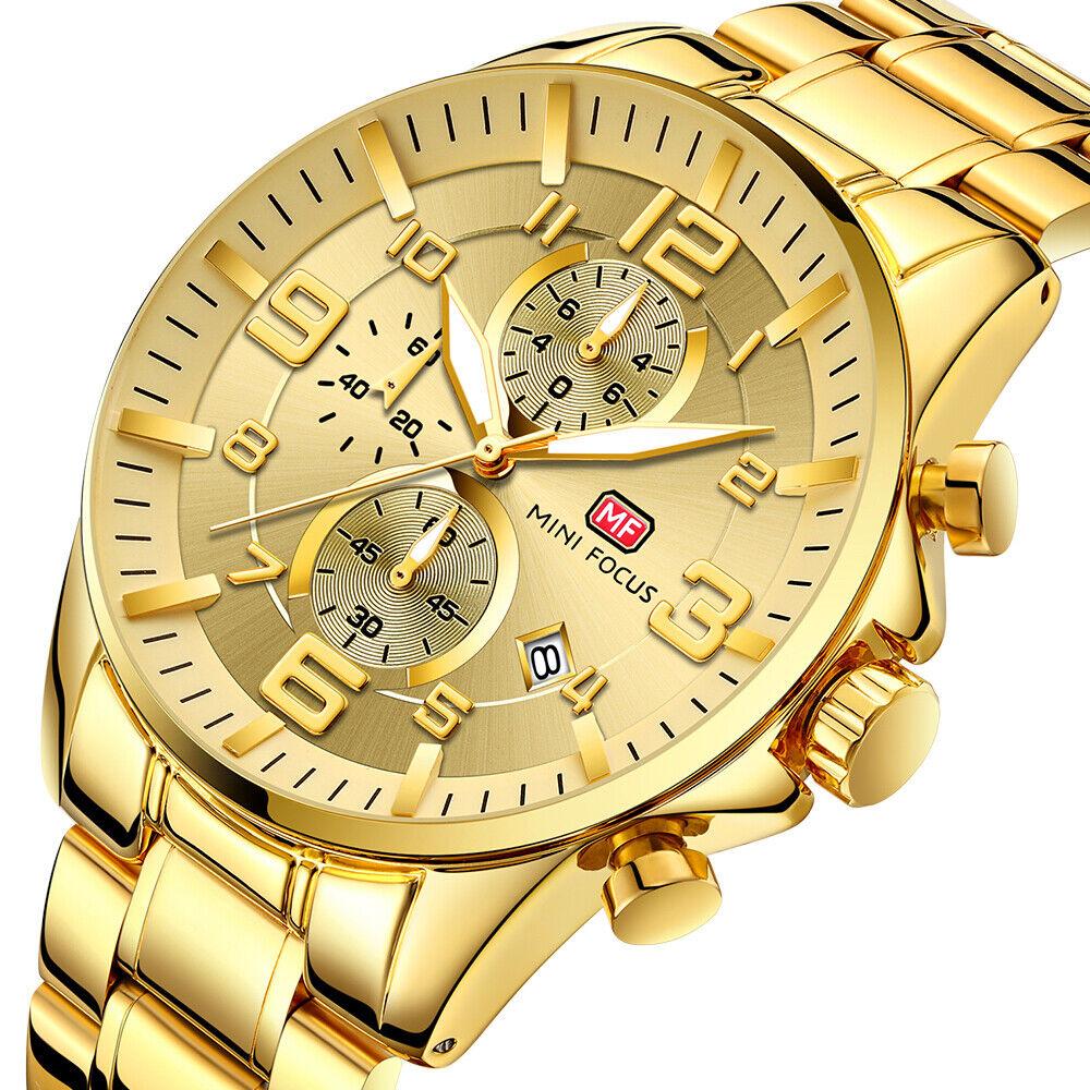 Herrenuhr Edelstahl Armbanduhr Gold Farben Analog Quarz Uhr Chronograph Datum