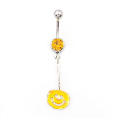 Belly  Button Ring with Orange Halloween Pumpkin Design 14g](Halloween Belly Button Rings)