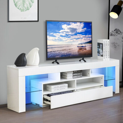 """70"""" TV Stand Unit Cabinet with LED Shelves 2 Drawer Console Furniture White"""