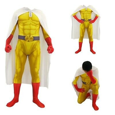 Anime Costume For Men (Anime ONE PUNCH-MAN Saitama Cosplay Costume Zentai Jumpsuit Cloak Robe Full Set)