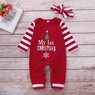 Newborn Baby Boys Girls My 1st Christmas Striped Romper Jumpsuit Clothes Outfits ()