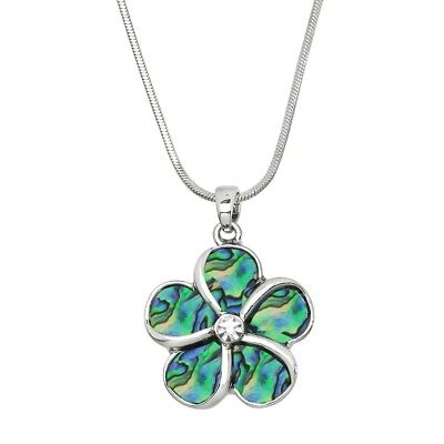 Flower Charm Pendant Fashionable Necklace   Abalone Paua Shell   17  Chain