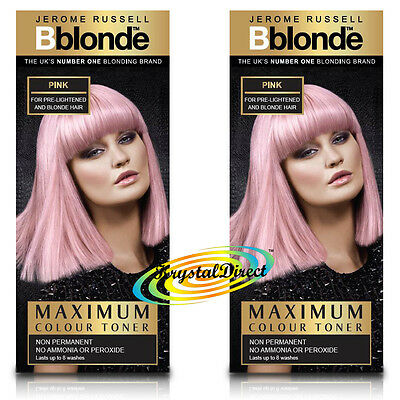 2x Jerome Russell BBlonde Pink Color Maximum Colour Toner 75ml Non Permanent