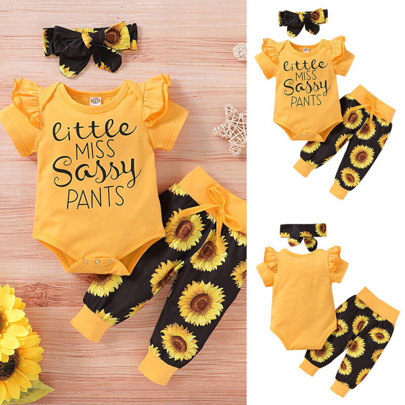3PCS Newborn Baby Girl Clothes Floral Tops Romper Jumpsuit Pants Headband Outfit