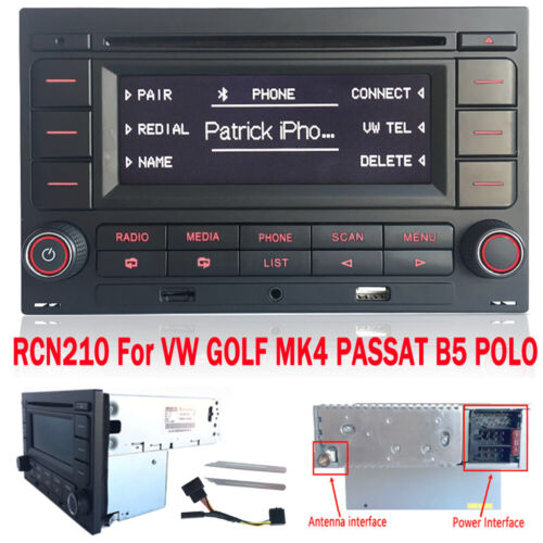 Autoradio RCN210 Bluetooth CD Player MP3 SD USB für VW Golf MK4 Passat B5 Polo