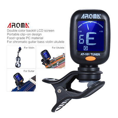 AROMA AT-101 Guitar Tuner Rotatable Clip-on Tuner LCD for Acoustic Guitar C2X1