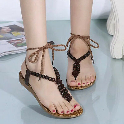 Women Summer Flat Shoes Bohemia Leisure Sandals Peep-Toe Outdoor Daily shoes