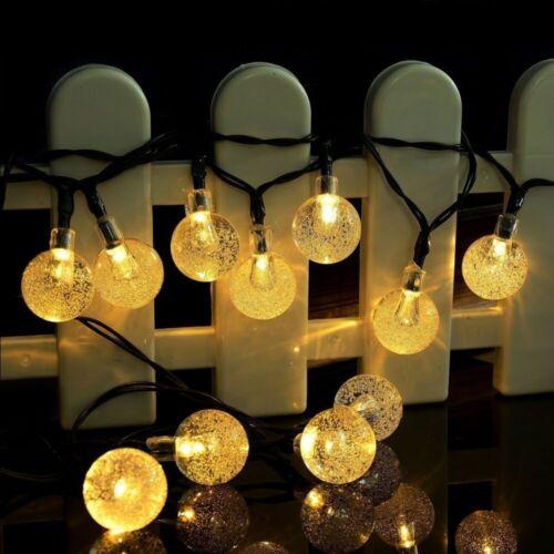 21FT Outdoor String Lights 30 LED Solar Bulb Patio Party Yard Garden Wedding 4