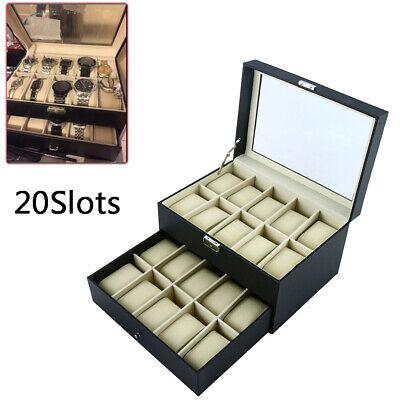 20Slot Watch Box Leather Display Case Organizer Top Acrylic Jewelry Storage Blac