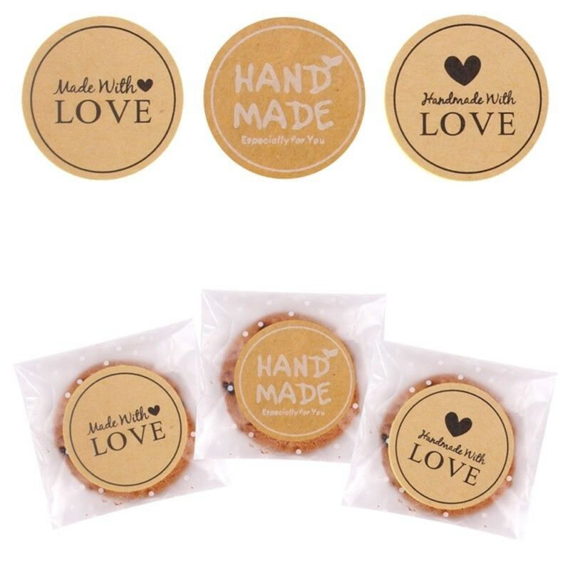 60pcs Handmade Love Label Sealing Stickers Cookie Candy Gift