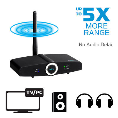 300ft Long Range Bluetooth 4.2 Transmitter Receiver NO AUDIO LAG TV Optical aptx