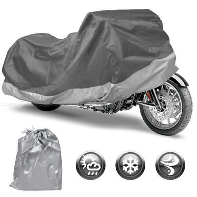 Motorcycle Cover Silver Outdoor Bike Cover Rain UV Dust Protection XXL Upto 104""