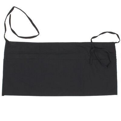 Server Apron New Heavy Duty Black Poly-cotton Bar Style Waist Apron 12 X 24