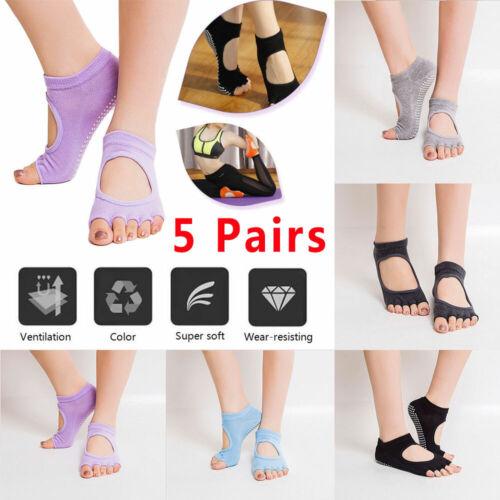 5 Pairs Women Yoga Socks Barre Socks Pilates Sock Toeless No