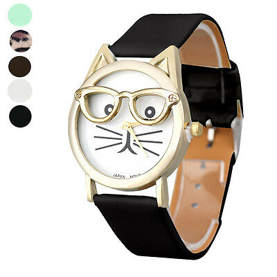 Cute Creative Glasses Cat Face Dial Analog Quartz Wrist Watch For Womens Gift