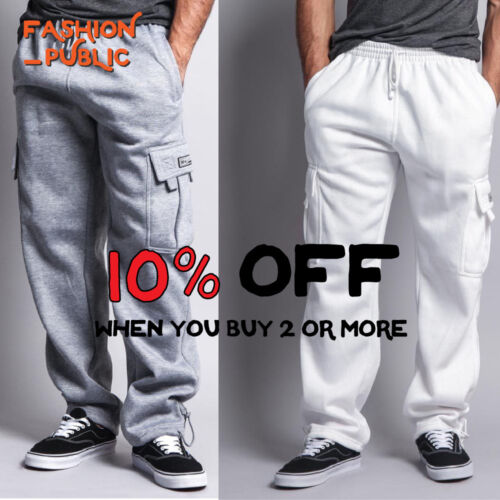 Dr Men Casual Cargo Pants Sweatpants 5 Pockets Cargo Fleece Pants Harem Hip Hop